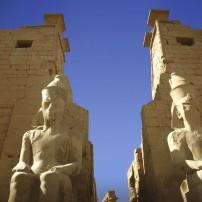 Sculptures, ruins, Luxor Temple, Luxor, Egypt