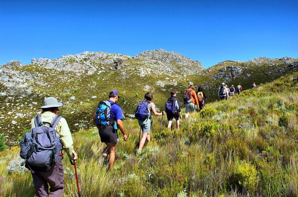 Hikers, Pieke, Jonkershoek Nature Reserve, Western Cape, South Africa