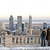 Couple, Winter, Downtown and the Golden Square Mile, Montreal, Quebec, Canada, North America