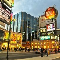 Night, Crowd, Dundas Square, Toronto, Canada