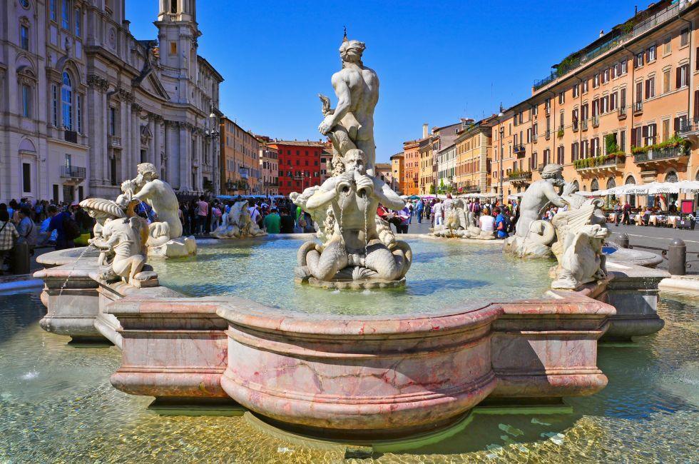 Fontana del Moro, Piazza Navona, Piazza Navona, Campo de Fiori, and the Jewish Ghetto, Rome, Italy.