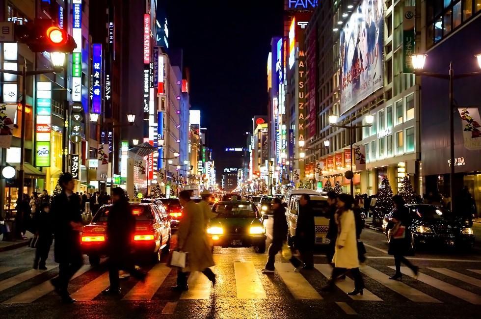 Night, Street, Nihombashi, Ginza, and Yuraku-cho, Tokyo, Japan