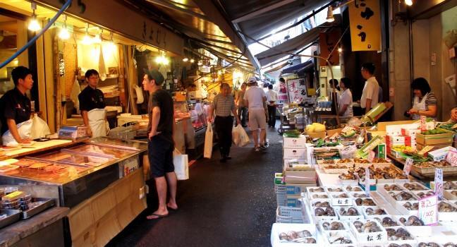 Markets, Backstreet shops of Tsukiji, Tokyo, Japan
