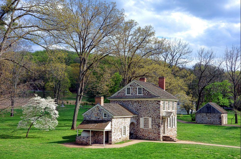 George Washington Headquarters of the American Revolutionary War Continental Army Encampment; Valley Forge National Historical Park, Valley Forge, Brandywine Valley, Pennsylvania, USA.