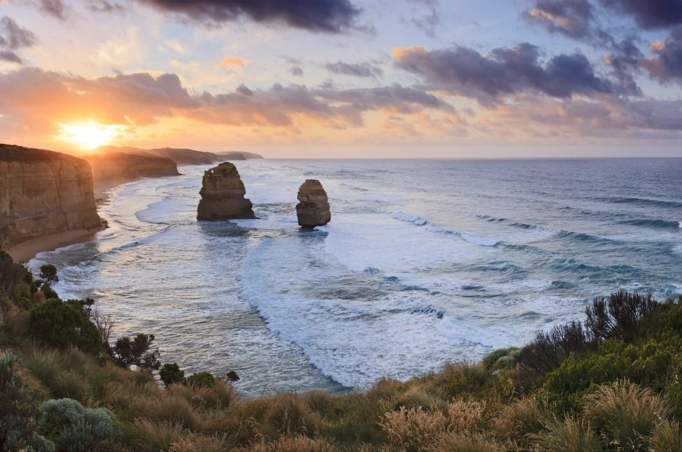 Twelve Apostles; Sunrise, Coastline, Great Ocean Road, Victoria, Australia