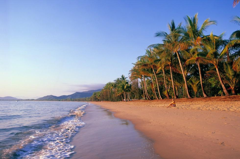 Beach, Woman, Palm Trees, Cairns, North Queensland, Great Barrier Reef, Australia
