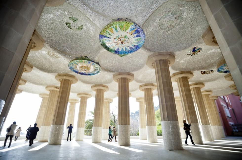Hipostyle hall, Parc Guell, Gracia, Barcelona, Spain