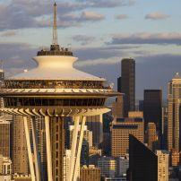 Space Needle, skyline, Seattle Center, Seattle, Washington, USA, North America