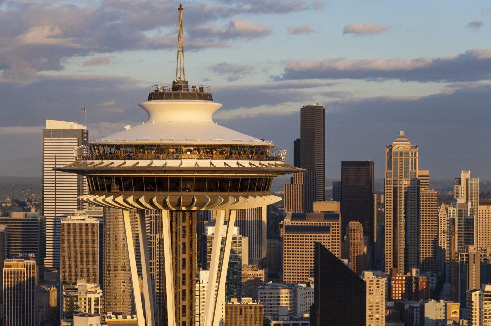 Space Needle, skyline, Seattle Center, Seattle, Washington, USA, North America