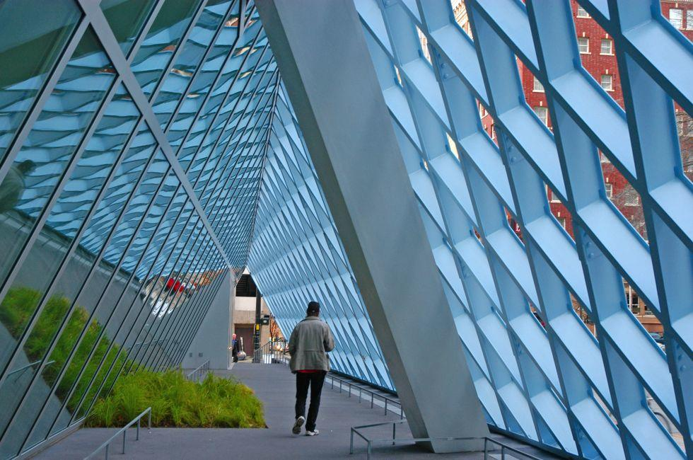 Library, Geometrical Walkway, Downtown, Seattle, Washington, USA