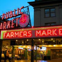 Night, Public Market, Seattle, Washington, USA