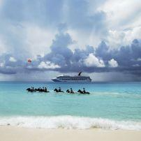 Horseback Riding, Caribbean Sea, Half Moon Cay, The Bahamas, Caribbean