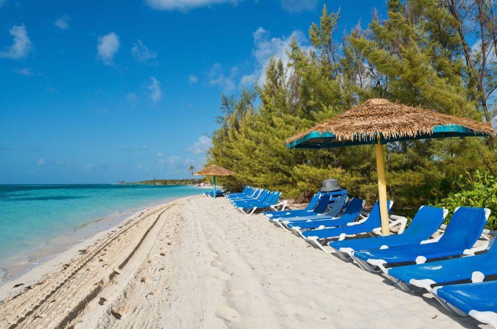 Lounge Chairs, Beach, Coco Cay, The Berry Islands, The Bahamas, Caribbean