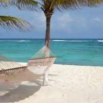 Hammock, Palms, Beach, Playa del Secreto, Carribbean Coast, Mexico,