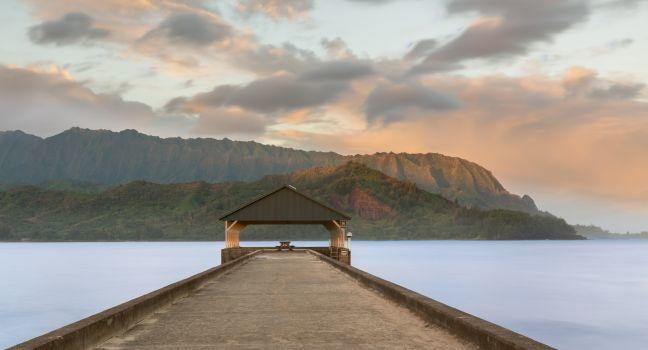 Pier, Hanalei Bay, Kauai, Hawaii, USA