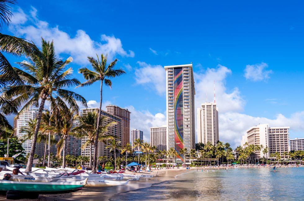Waikiki beach, Waikiki, Honolulu,  Honolulu and Oahu, Hawaii, USA.