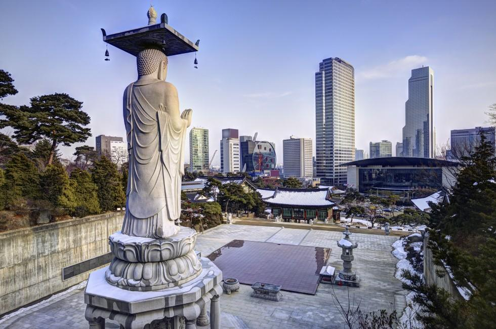 Statue, Bongeunsa Temple, Skyline, Seoul, South Korea