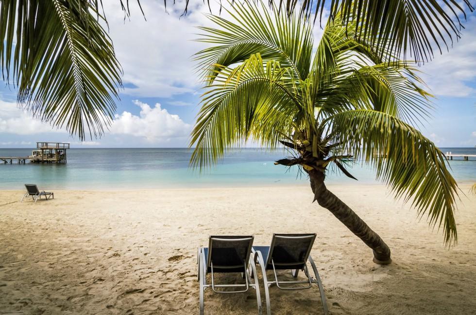 Lounge Chairs, Beach, Roatan, Honduras