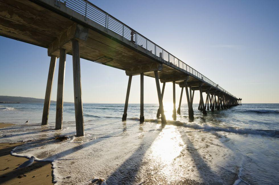 Pier, Hermosa Beach, Venice, Santa Monica, Venice, and Malibu, Los Angeles, California, USA.