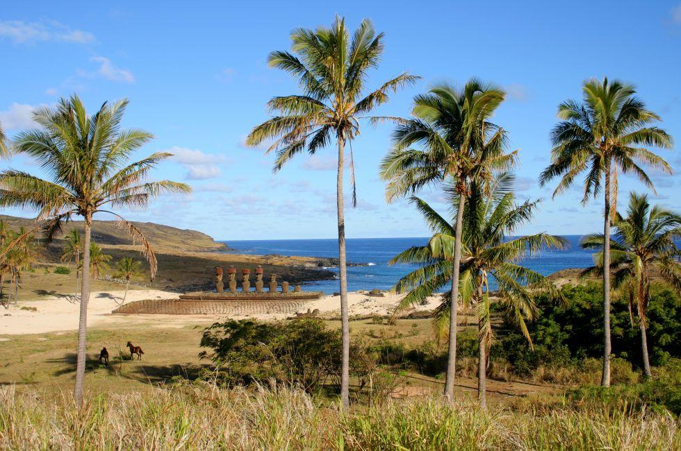 Anakena Beach, Ahu Nau Nau, Easter Island, Chile