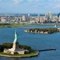 Aerial View, Statue of Liberty, Ellis Island, New York Harbour, Financial District, New York City, New York, USA, North America