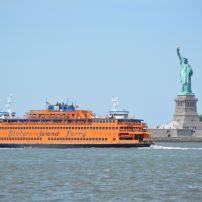 Staten Island Ferry, Statue of Libery, New York Harbour, Financial District, New York City, New York, USA, North America