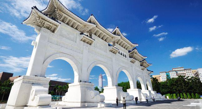 Entrance of Chiang Kai-shek Memorial Hall, Liberty Square, Taipei, Taiwan, Asia.