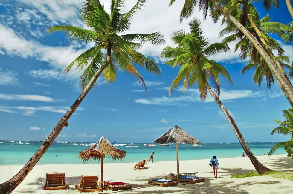 Beach, Umbrellas, Palms, Boracay, Philippines