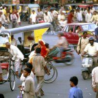 Navigating trafic downtown Jaipur