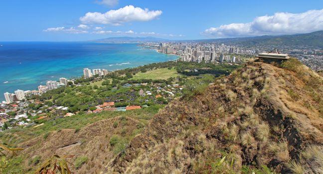 Diamond Head State Monument and Park, Diamond Head, Honolulu, Honolulu and Oahu, Hawaii, USA.