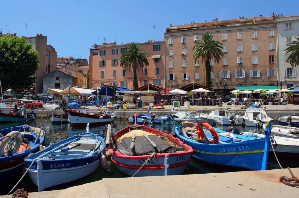 Boats, Restaurants, Waterfront, Ajaccio, Corsica, France