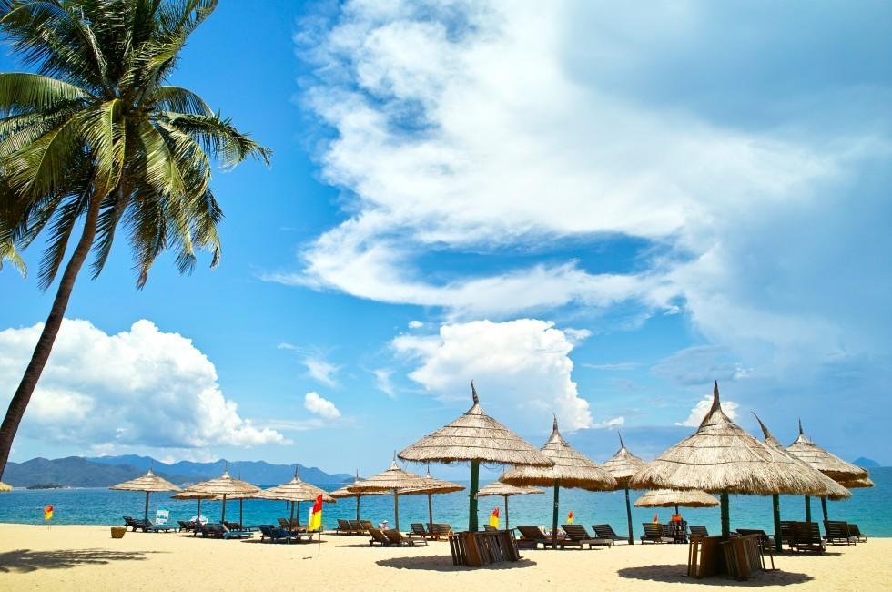 Beach, Umbrellas, Nha Trang, Vietnam