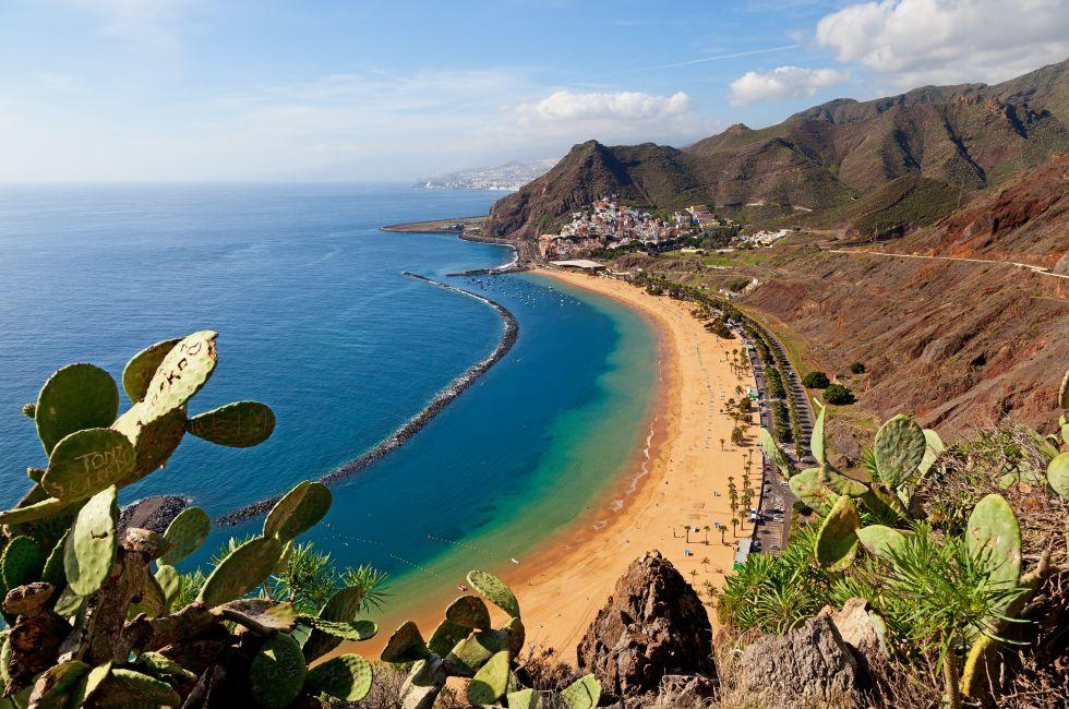 Aerial, Coastline, Beach, Tenerife, Canary Islands, Spain