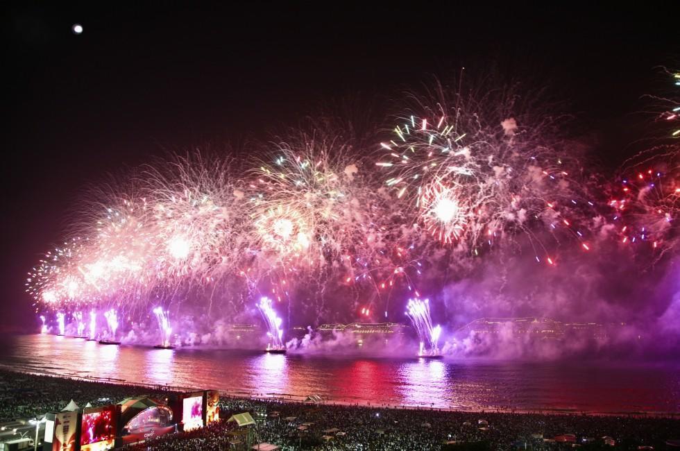 Fireworks, Copacabana Beach, Rio de Janeiro, Brazil