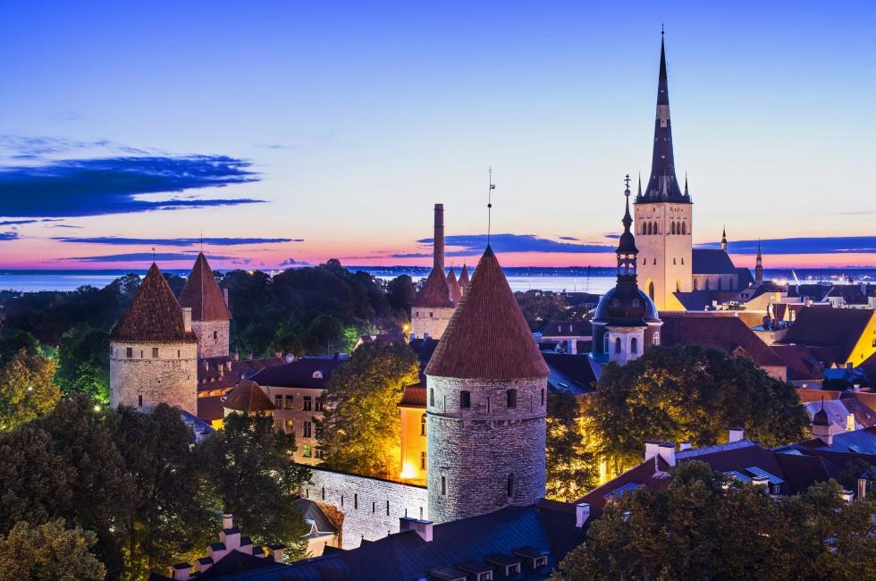 Aerial, Dawn, City Wall, St. Olaf's Church, Tallinn, Estonia