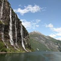 The Seven Sisters Waterfall, Geiranger Fjord,  Hellesylt, The West Coast, Norway