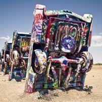 Cadillac Ranch art exhibit, near Amarillo, Texas.