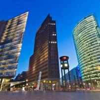 Skyscrapers, Dusk, Potsdamer Platz, Berlin, Germany, Europe.