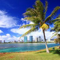 Overlooking Ala Moana Beach Park; Ala Moana, Honolulu, Honolulu and Oahu, Hawaii, USA
