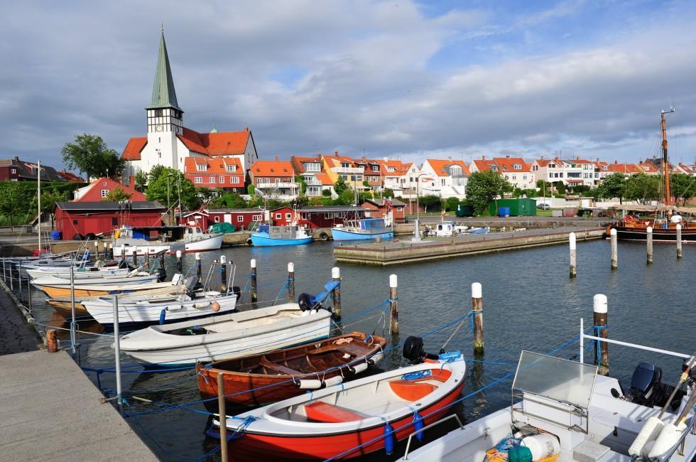 Boats, Marina, St. Nicolas' Church, Waterfront, Ronne, Denmark