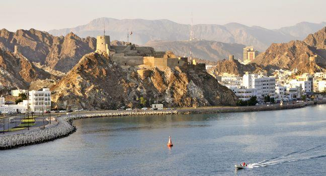 Fort, Coastline, Muttrah Corniche, Muscat, Oman, Africa and Middle East