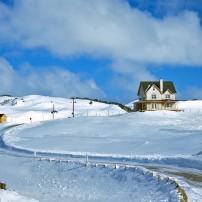 Snow, Houses, Road, Cap aux Meules, Magdalen Islands, Quebec, Canada