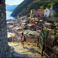 Woman, Vernazza, Cinque Terre, The Italian Riviera, Italy