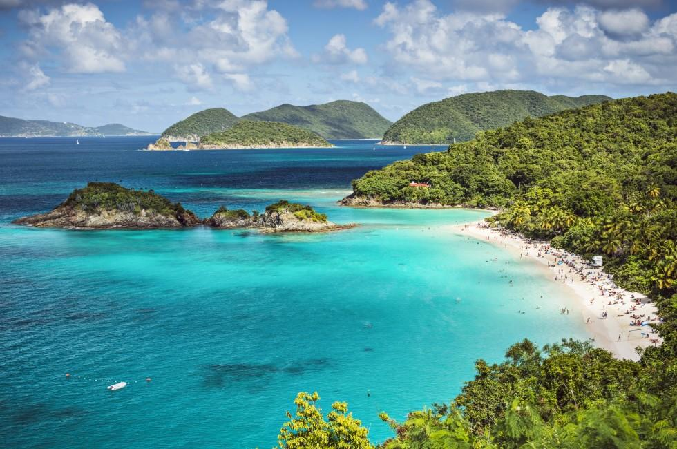 Coastline, People, Trunk Bay Beach, St. John, USVI
