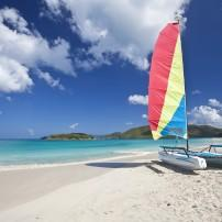 Sailboat, Beach, Cinnamon Bay, St. John, USVI, Caribbean
