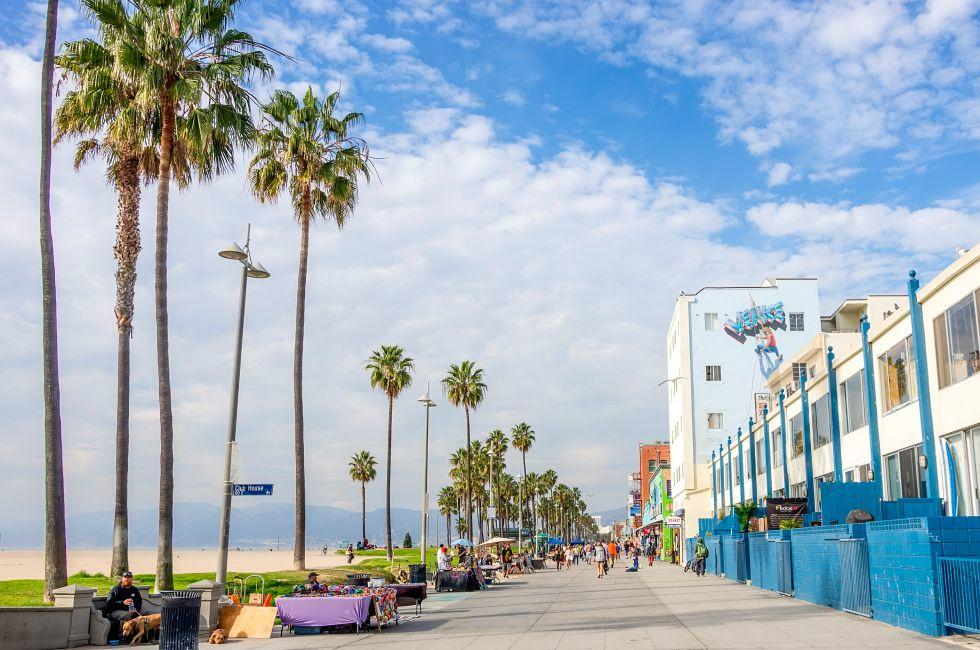 Boardwalk, Venice Beach, Venice, Santa Monica, Venice, and Malibu, Los Angeles, California, USA.