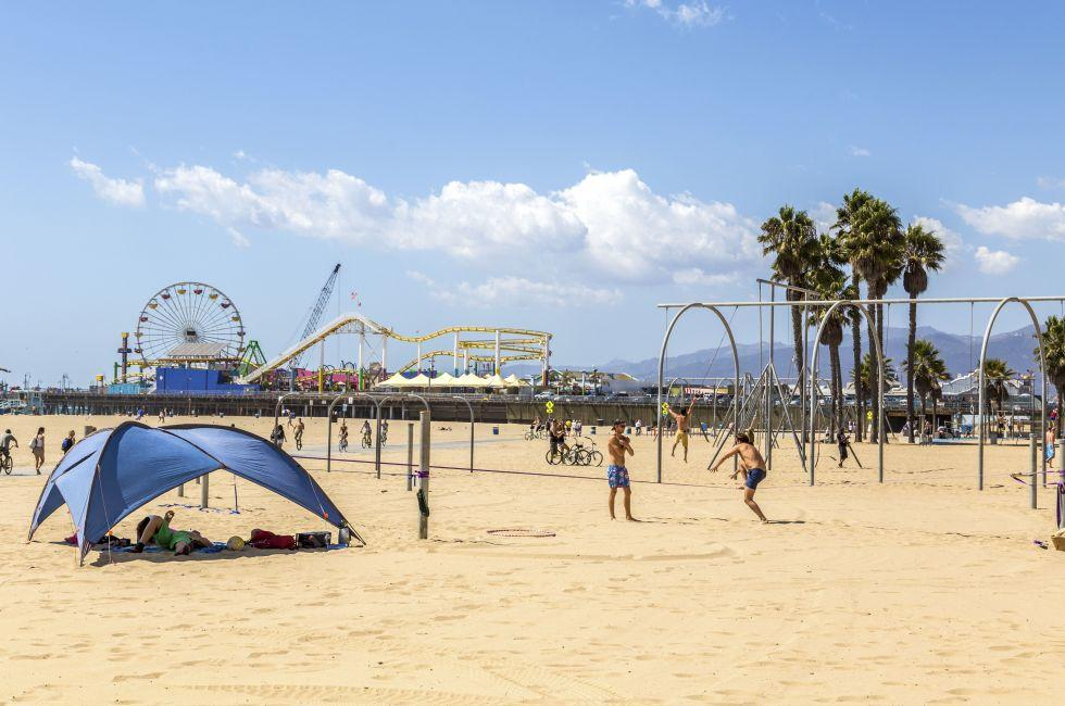 Santa Monica beach, Santa Monica, Venice, Santa Monica, Venice, and Malibu, Los Angeles, California, USA.