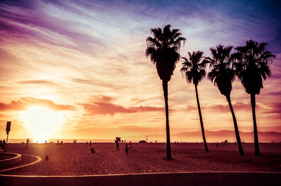 Sunset, Venice Beach, Venice, Santa Monica, Venice, and Malibu, Los Angeles, California, USA.