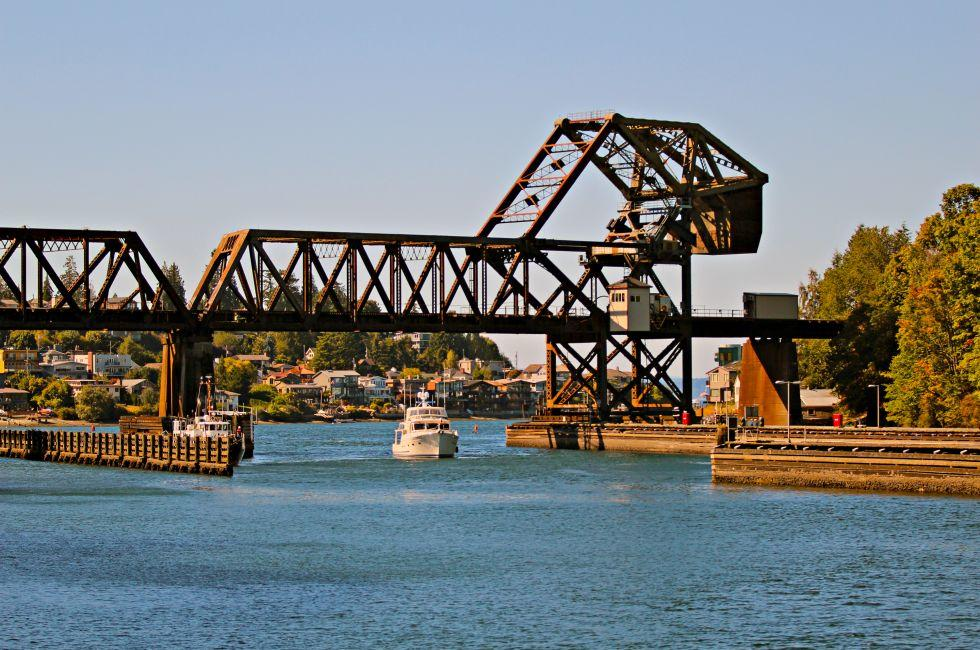 Boat, Railway Drawbridge, Hiram M. Chittenden Locks, Seattle, Washington, USA