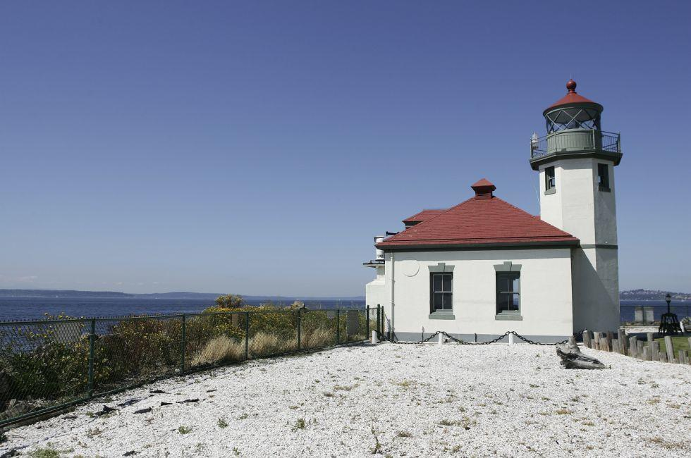 Lighthouse, Alki Point and Beach, Seattle, Washington, USA